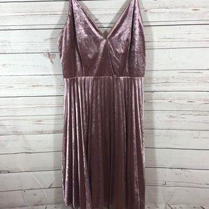 Chelsea 28 Blush velvet pleated spag strap dress